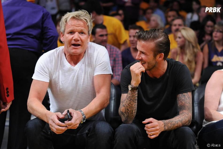 David Beckham et Gordon Ramsay : duo de chefs du restaurant l'Union Street Café à Londres