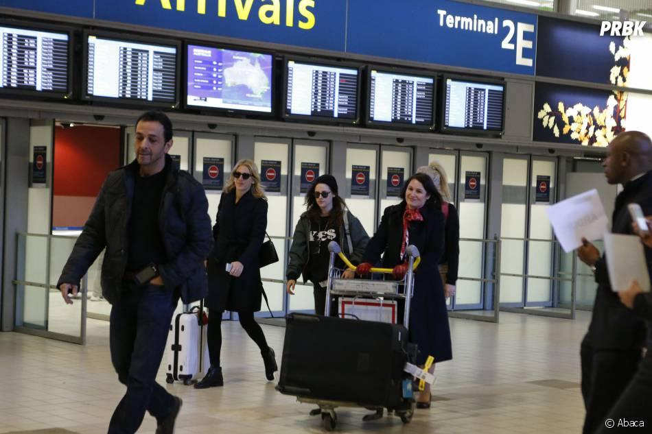 Kristen Stewart a atterri à l'aéroport de Roissy, le 3 février 2014 à Paris