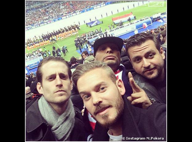 M. Pokora au Stade de France pour le match France VS Pays-Bas, le 5 mars 2014