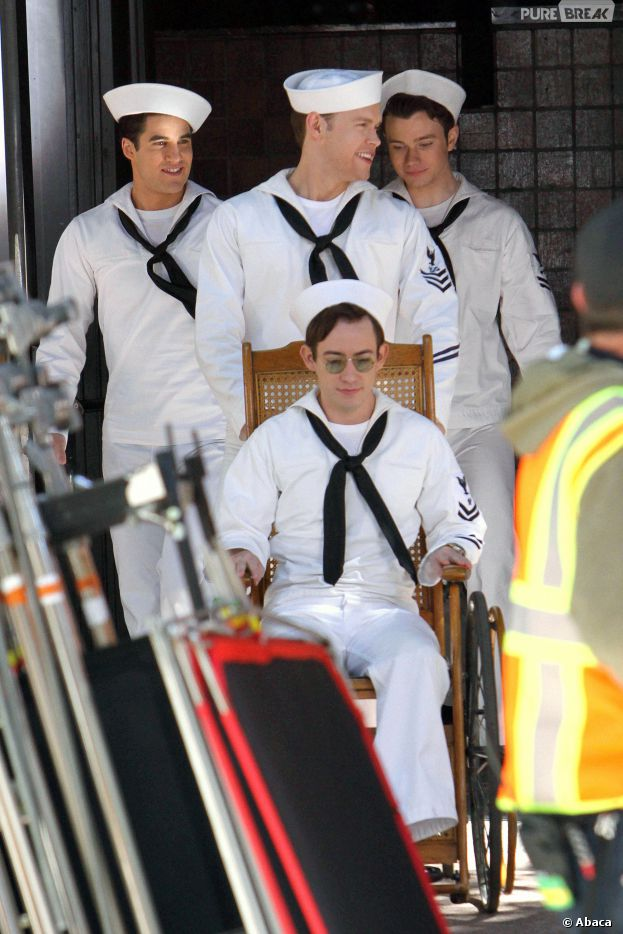 Glee saison 5 : Chris Colfer, Darren Criss, Chord Overstreet et Kevin McHale sur le tournage à Los Angeles le 1er avril 2014