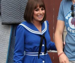 Glee saison 5 : Lea Michele en mode Funny Girl sur le tournage de la série, le 10 avril 2014