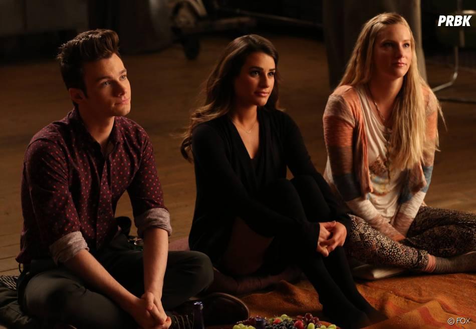 Glee saison 5, épisode 20 : Chris Colfer, Lea Michele et Heather Morris réunis