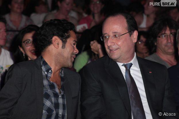 Jamel Debbouze et François Hollande, complices à la finale du Trophée d'Impro Culture & Diversité, au théâtre Le Comedia le 19 mai 2014 à Paris