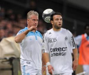 Mathieu Valbuena et Didier Deschamps en 2009 pendant un match de l'OM