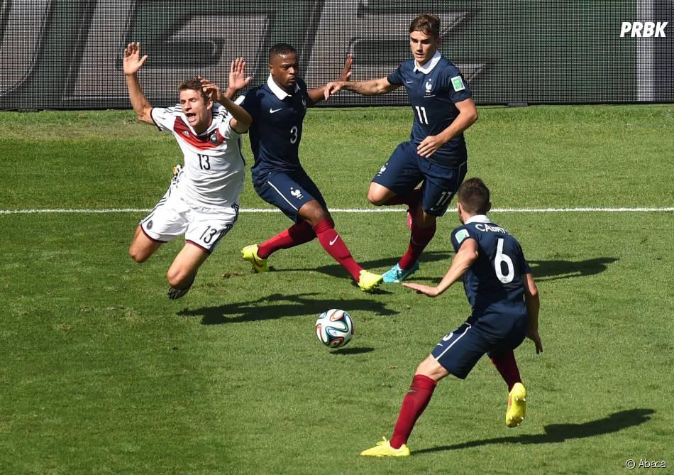 Les joueurs de l'équipe de France contre l'Allemagne en quart de finale de la Coupe du Monde 2014, le 4 juillet 2014