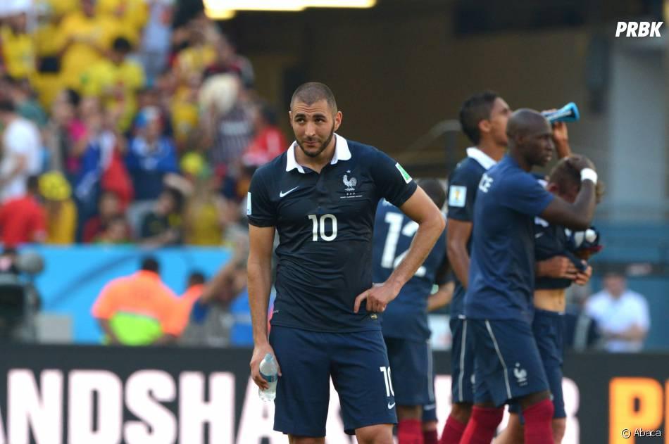 Karim Benzema après la défaite de l'équipe de France en quart de finale de la Coupe du Monde 2014, le 4 juillet 2014