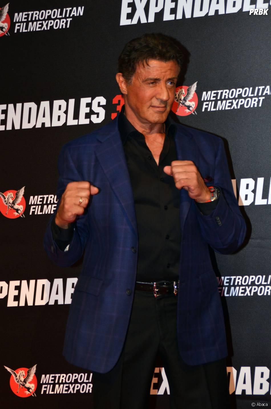 Sylvester Stallone assure la promo d'Expendables 3, le 7 août 2014 à Paris