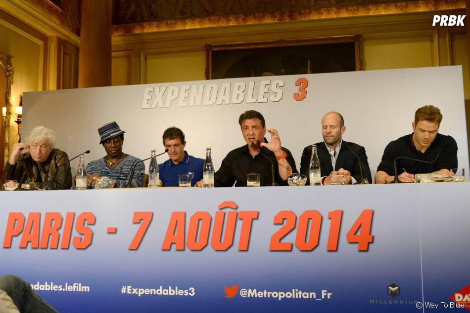L'équipe d'Expendables 3 en conférence de presse, le 7 août 2014 à Paris