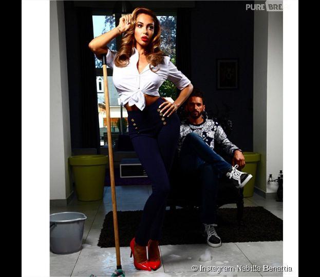 Nabilla Benattia : ménagère sexy avec Thomas Vergara pour leur collection de vêtement
