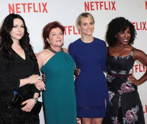 Laura Prepon, Kate Mulgrew, Taylor Schilling et Uzo Aduba (Orange is the new black) à la soirée de lancement Netlfix, le 15 septembre 2014 à Paris