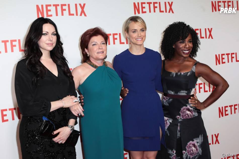 Laura Prepon, Kate Mulgrew, Taylor Schilling et Uzo Aduba (Orange is the new black) à la soirée de lancement Netlfix, le 15 septembre 2014 à Paris