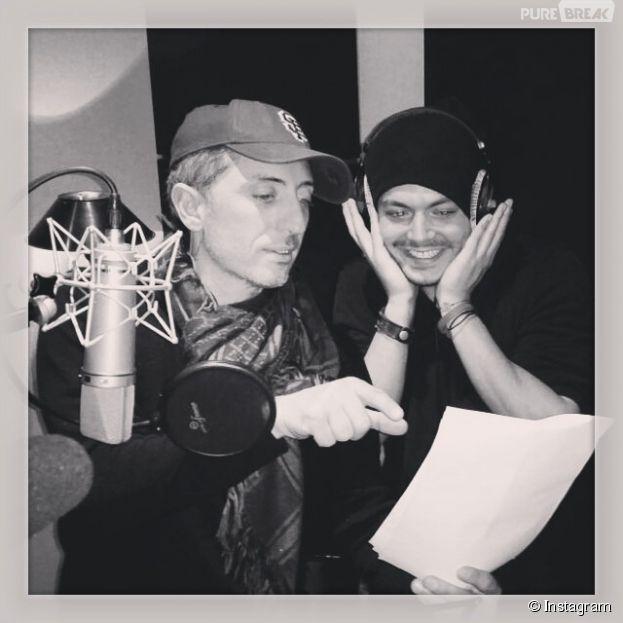 Kev Adams et Gad Elmaleh en studio, le 10 novembre 2014