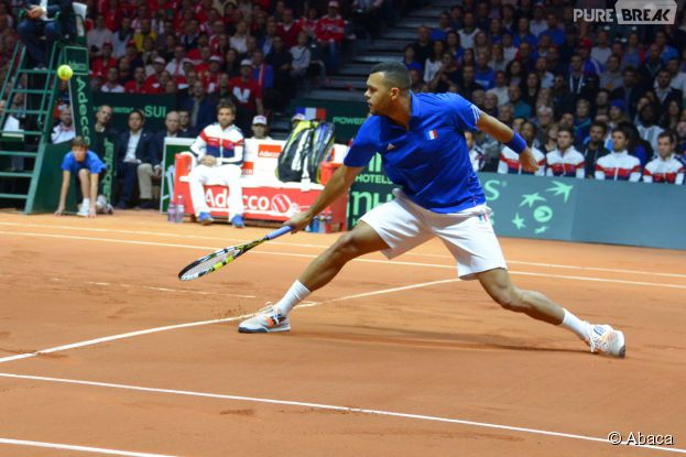 Jo-Wilfried Tsonga en finale de la Coupe Davis, le 21 novembre 2014 à Lille