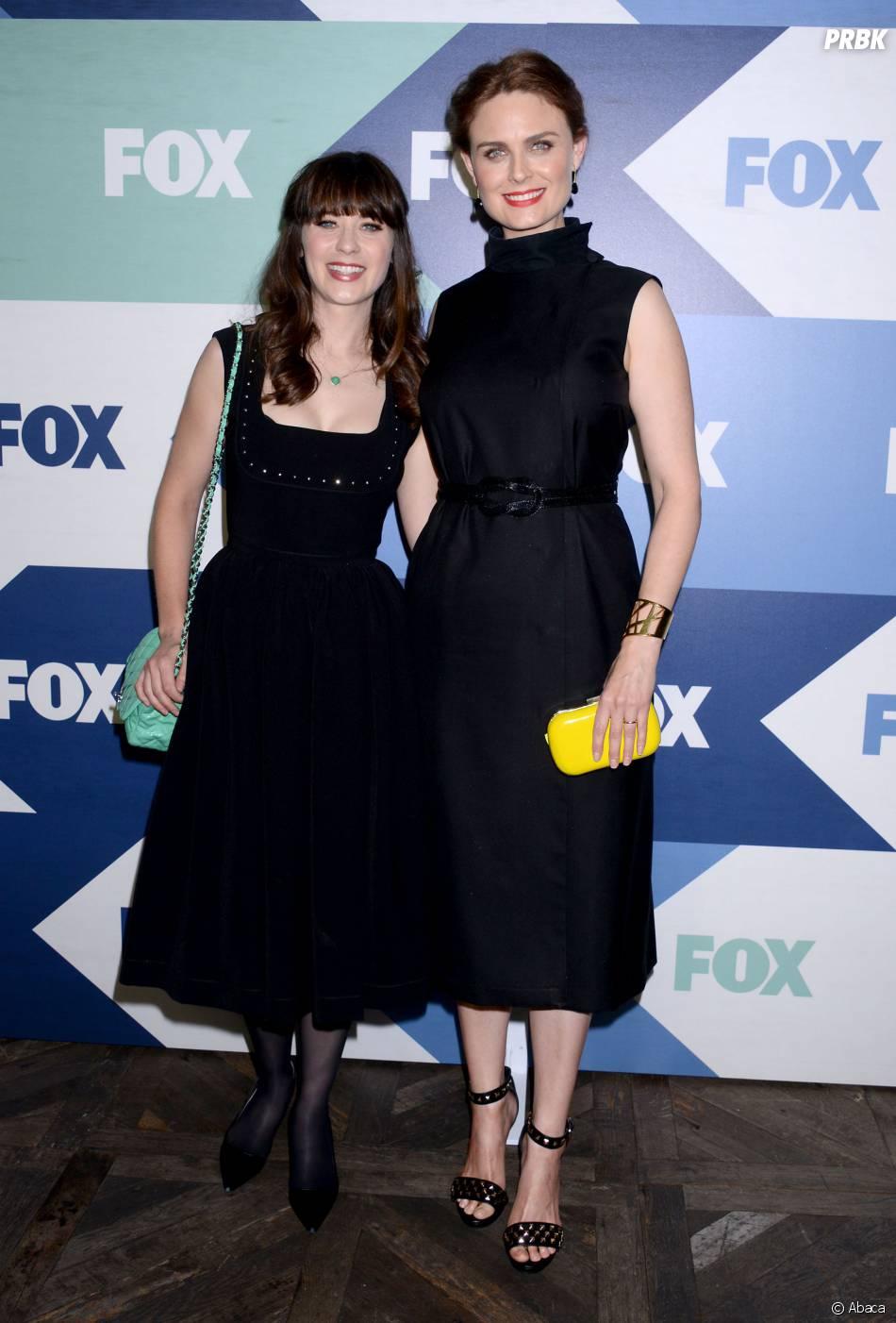 Zooey Deschanel et sa soeur Emily Deschanel lors d'une soirée organisée par FOX