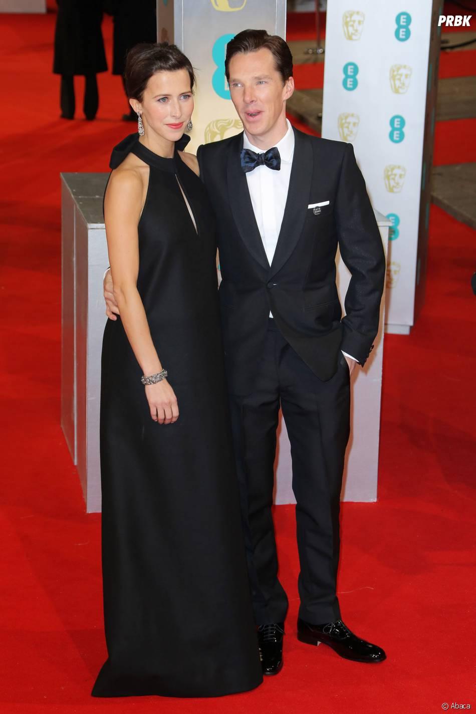 Benedict Cumberbatch et Sophie Hunter sur le tapis-rouge des BAFTA le 8 février 2015 à Londres