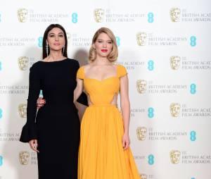 Monica Bellucci et Léa Seydoux sur le tapis-rouge des BAFTA le 8 février 2015 à Londres