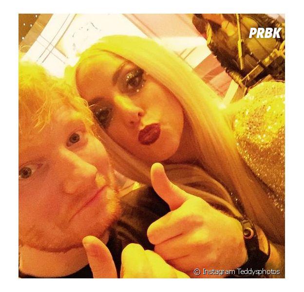 Lady Gaga et Ed Sheeran en selfie sur Instagram, le 11 février 2015