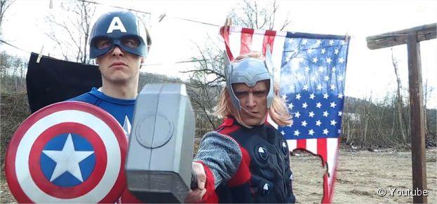 Norman (Captain America) et Hugo Tout Seul (Thor) dans une version d'Avengers low cost sur Youtube !