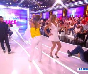 Laetitia Milot et Caroline Ithurbide dans une battle de danse sexy dans TPMP, le 16 juin 2015 sur D8