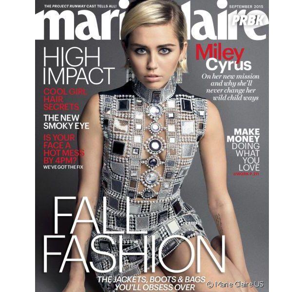Miley Cyrus en couverture du magazine Marie Claire US de Septembre 2015