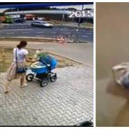 Cette femme et son bébé passent à deux doigts d'un accident mortel, la vidéo est hallucinante
