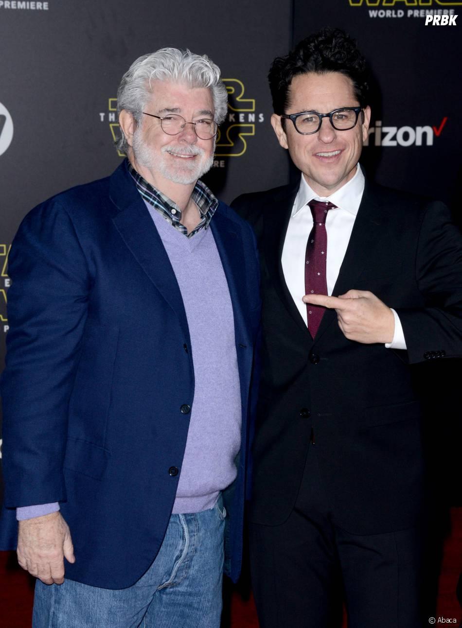 George Lucas et JJ Abrams à l'avant-première de Star Wars 7, le 14 décembre 2015 à Los Angeles