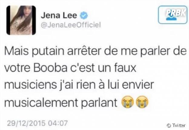Jena Lee tacle Booba dans un tweet ensuite supprimé posté le 29 décembre 2015