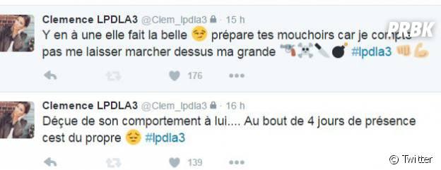 Clémence (Les Princes de l'amour 3) tacle Gabano et Mélissa sur Twitter
