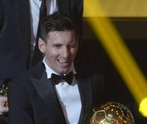 Lionel Messi lors de la cérémonie du Ballon d'or 2015 à Zurich, le 11 janvier 2016