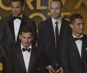 Lionel Messi, Cristiano Ronaldo, Neymar, Paul Pogba... lors de la cérémonie du Ballon d'or 2015 à Zurich, le 11 janvier 2016