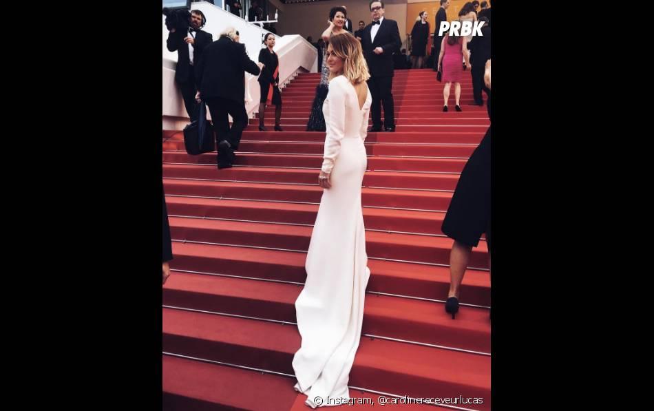 Caroline Receveur sur les célèbres marches du Festival de Cannes le 13 mai 2016