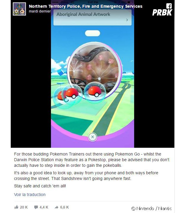 Pokémon GO : le message d'un commissariat australien pour que les joueurs arrêtent d'entrer dans le poste de police pour capturer des Poékmons
