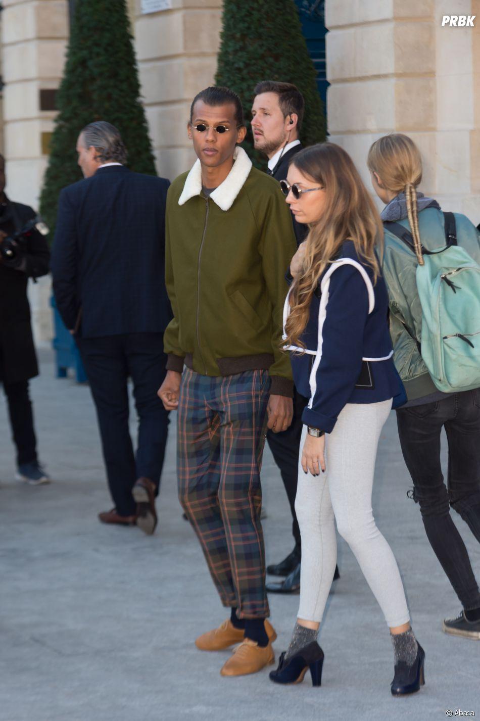 Stromae et sa femme Coralie, place Vendôme à Paris.