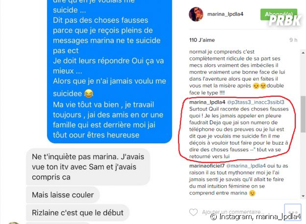 Marina (Les Princes de l'amour 4) dément sa tentative de suicide et clashe Benoît !