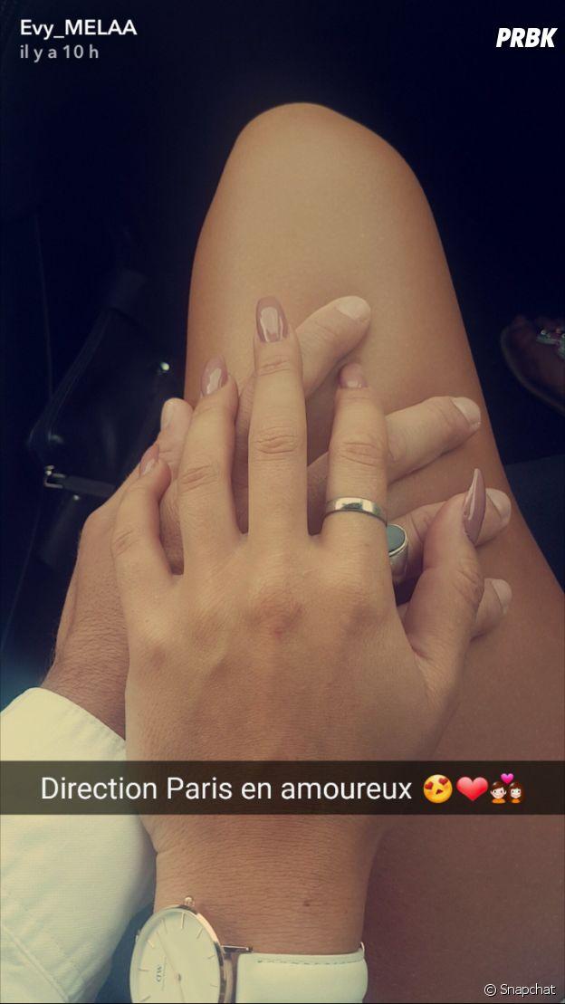 Evy (Les Anges 9) à Paris avec son copain