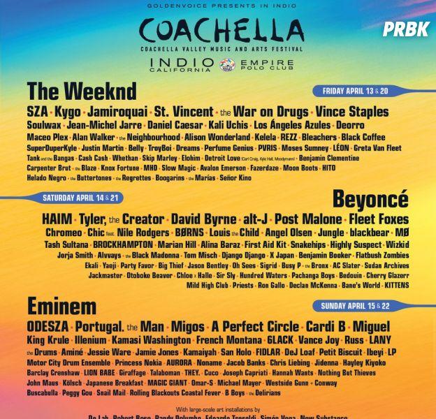 Coachella 2018 : Eminem, The Weeknd, Beyoncé... la programmation complète du festival