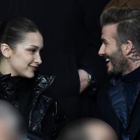David Beckham et Bella Hadid très complices lors du match PSG-Real Madrid