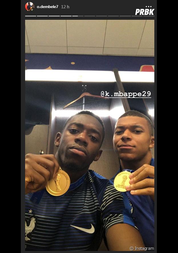 Coupe du monde 2018 : Ousmane Dembélé et Kylian Mbappé posent fièrement avec leurs médailles
