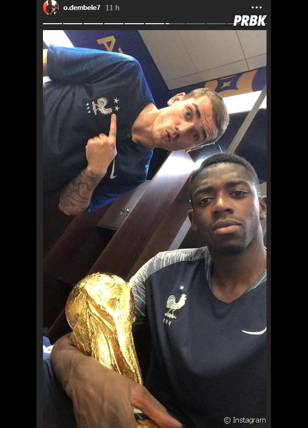 Coupe du monde 2018 : Ousmane Dembélé et Antoine Griezmann fiers avec la coupe
