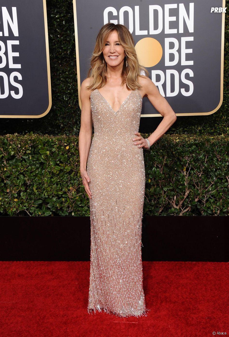 Felicity Huffman sur le tapis rouge des Golden Globes le 6 janvier 2019
