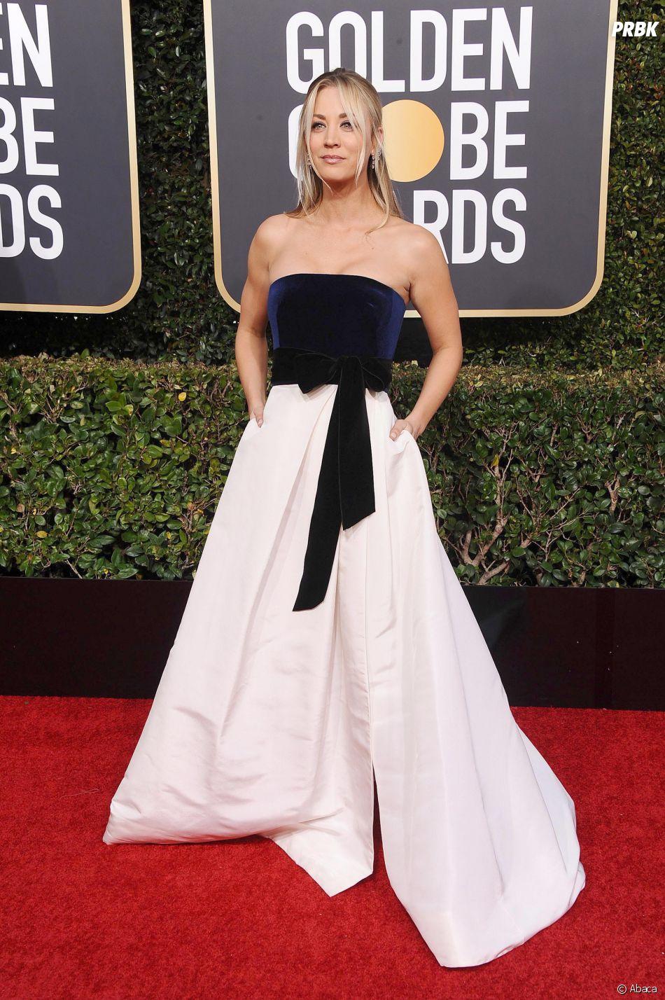 Kaley Cuoco sur le tapis rouge des Golden Globes le 6 janvier 2019