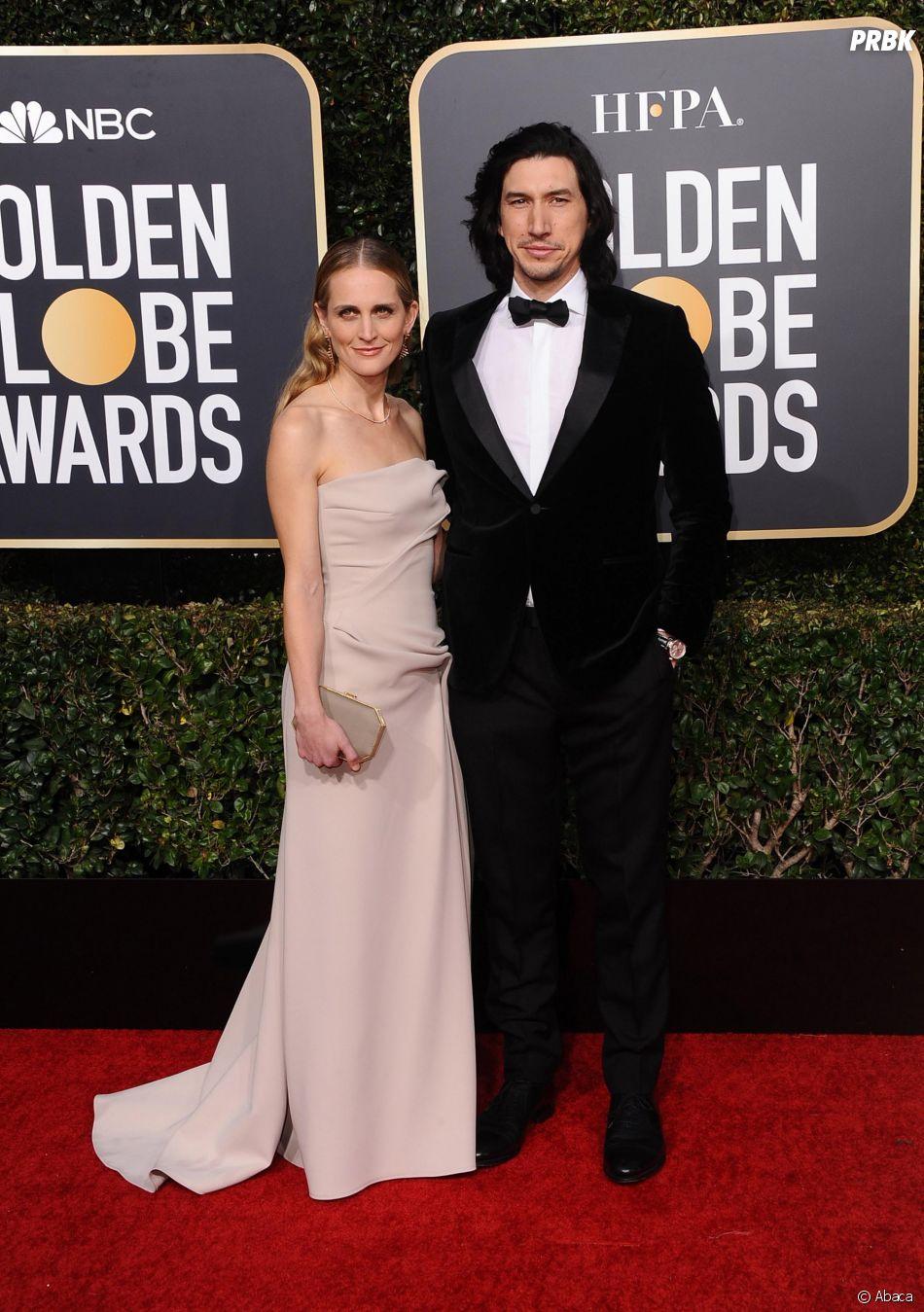 Adam Driver et sa femme Joanne Tucker sur le tapis rouge des Golden Globes le 6 janvier 2019