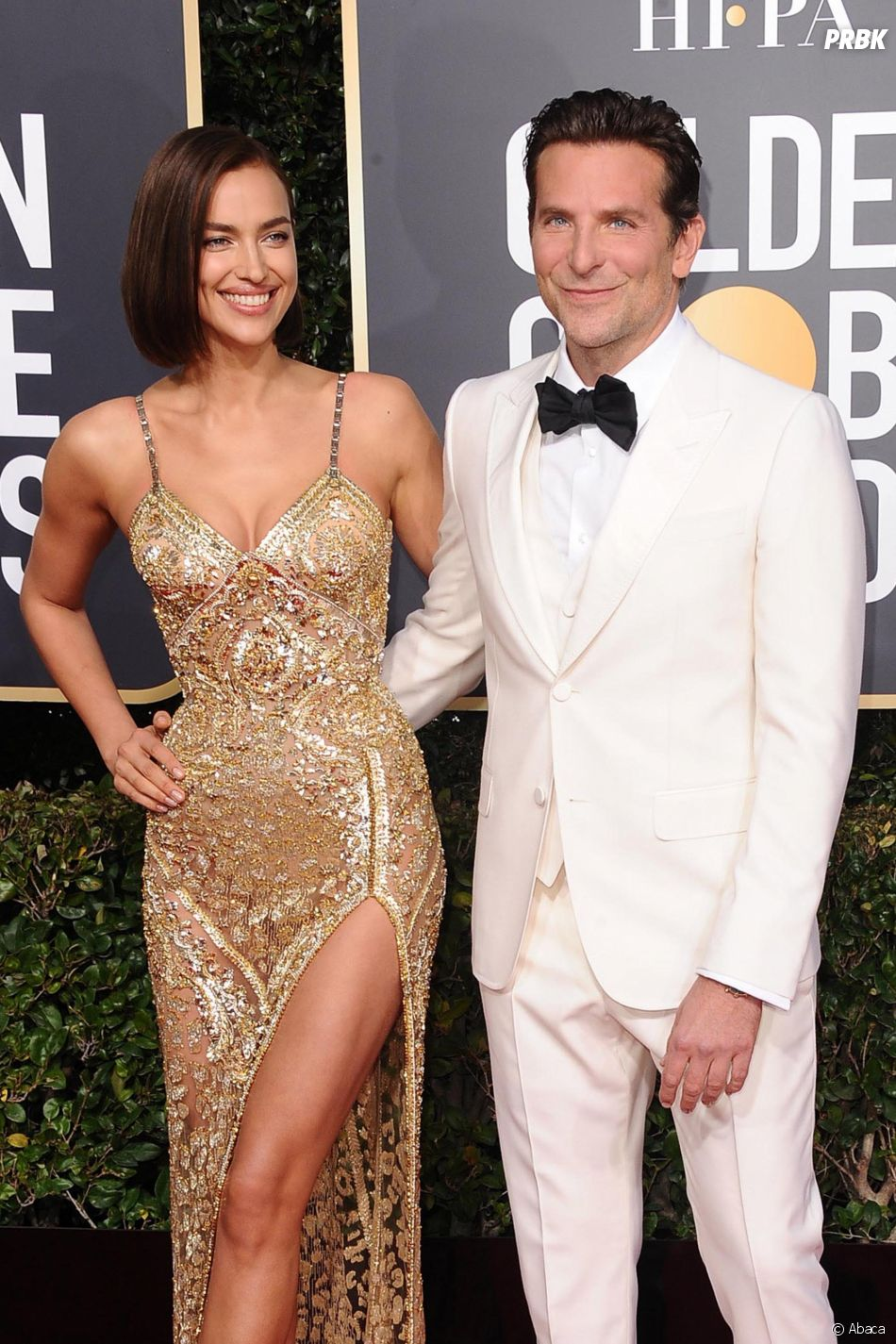 Irina Shayk et Bradley Cooper sur le tapis rouge des Golden Globes le 6 janvier 2019