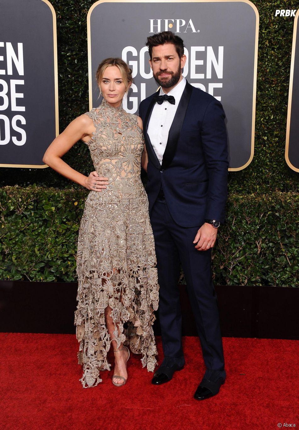 Emily Blunt et John Krasinsky sur le tapis rouge des Golden Globes le 6 janvier 2019