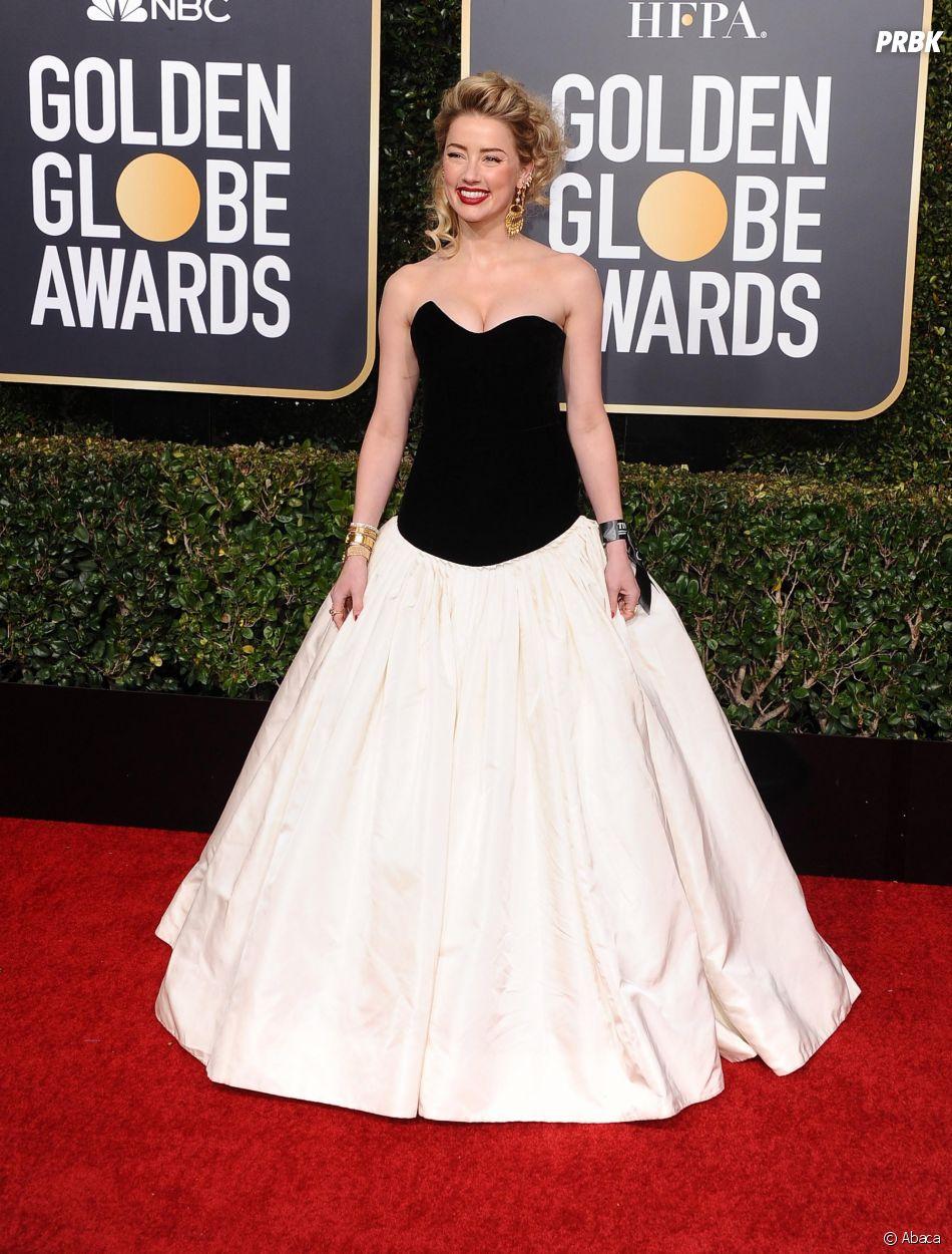 Amber Heard sur le tapis rouge des Golden Globes le 6 janvier 2019