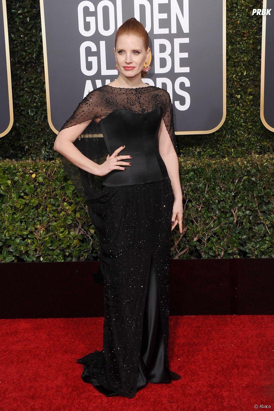 Jessica Chastain sur le tapis rouge des Golden Globes le 6 janvier 2019