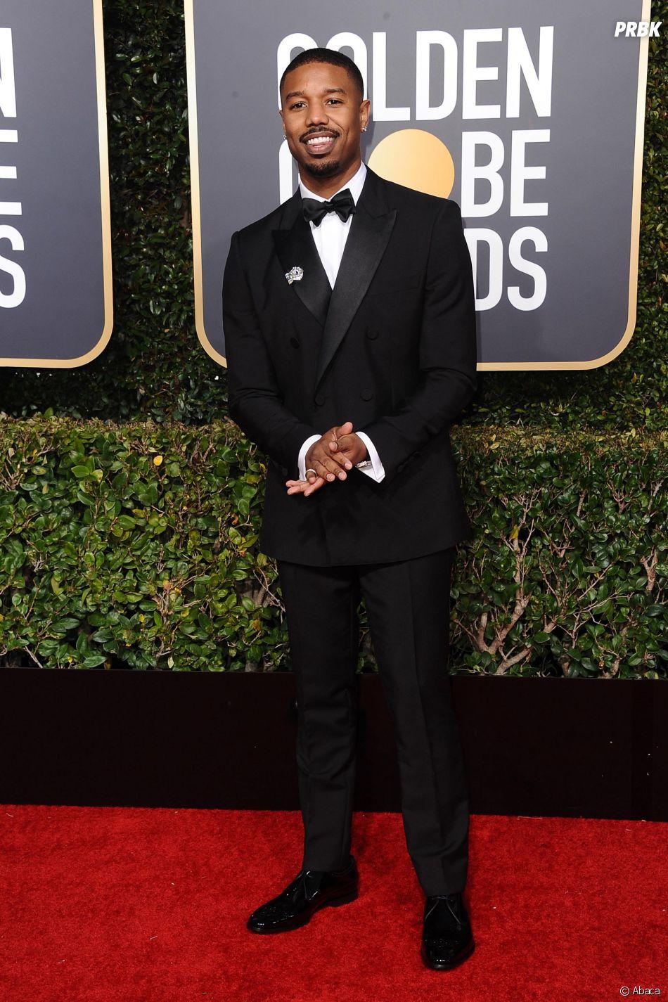 Michael B. Jordan sur le tapis rouge des Golden Globes le 6 janvier 2019