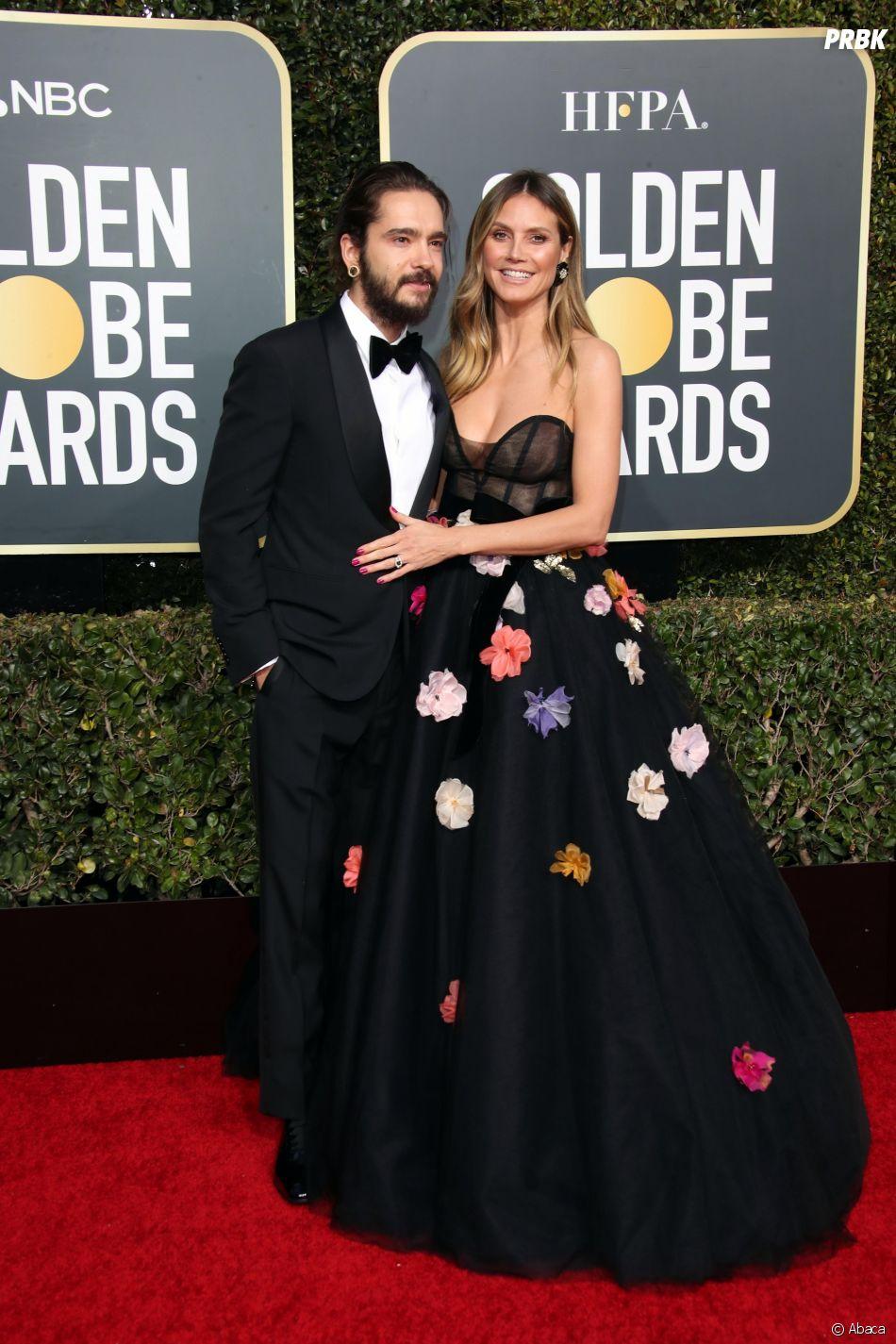 Heidi Klum et Tom Kaulitz sur le tapis rouge des Golden Globes le 6 janvier 2019