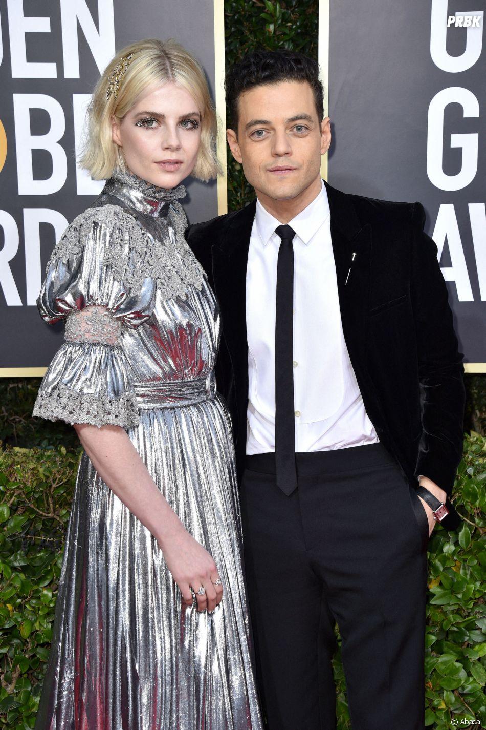 Lucy Boyton et Rami Malek sur le tapis rouge des Golden Globes 2020 le 5 janvier à Los Angeles
