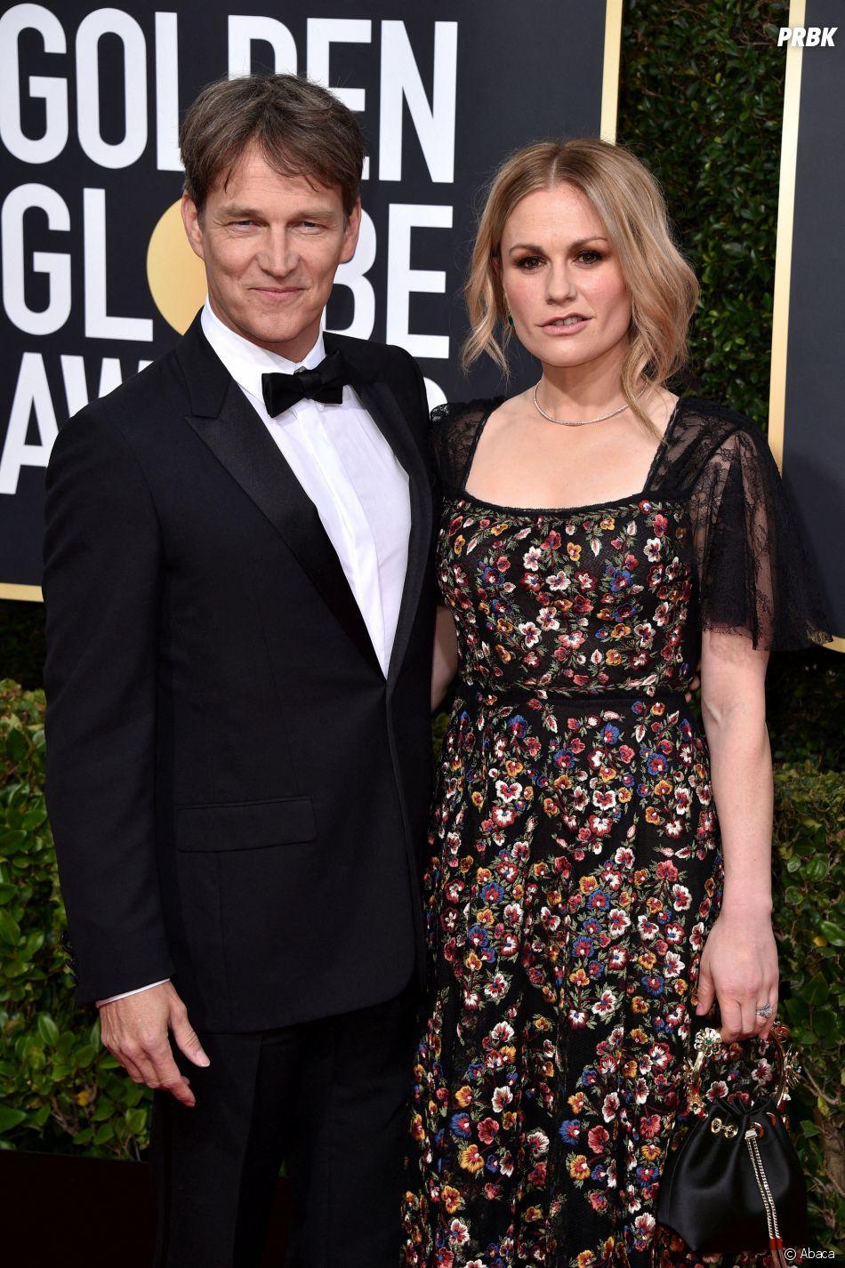 Stephen Moyet et Anna Paquin sur le tapis rouge des Golden Globes 2020 le 5 janvier à Los Angeles